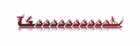 vector afbeelding van een draak boot in actie, de kleuren rood sticker stijl op een witte achtergrond, dragon boot die in het water