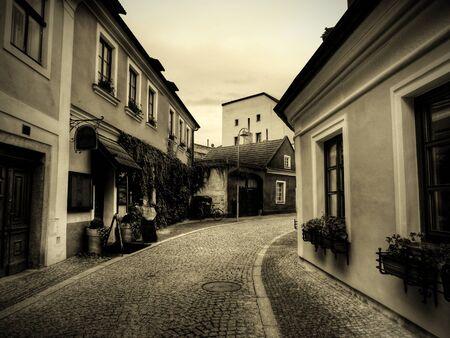 european culture: ancient streets, sepia tone photograph, an ancient European culture