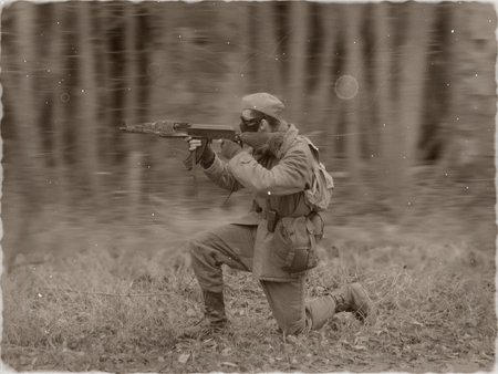 rifleman: Masked airsoft player, who plays for Russian side of the army, old time scenery, sepia