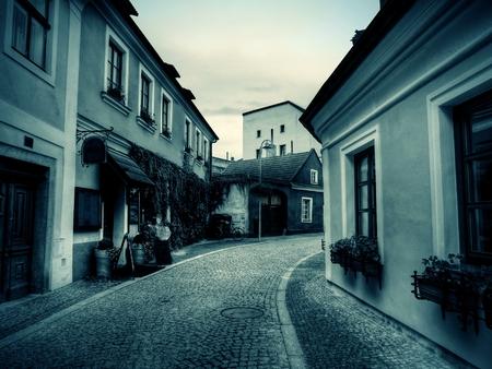 european culture: ancient streets, old blue tone photography, an ancient European culture