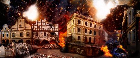 Landschaft der zerstörten Stadt, Apokalyptische Vision von der Zerstörung der Stadt