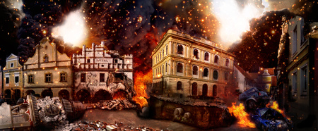 ruins: Scenery of the destroyed city, Apocalyptic vision of the destruction of the city