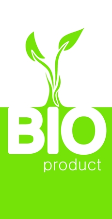 vertical orientation: Green and white BIO concept, vertical orientation, white font bio and light green sprout, white inscription product in right