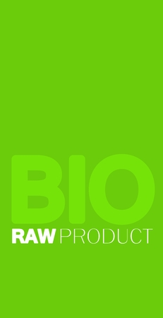 vertical orientation: Green and white BIO concept, vertical orientation, light green font BIO, white written RAW product