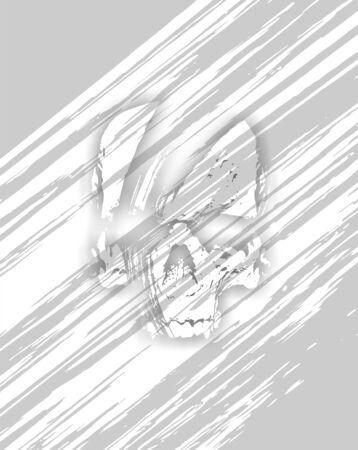 비대칭 줄무늬 배경 - 색 연한 회색에 두개골의 그림 스톡 콘텐츠