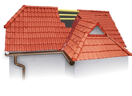 House roofing technical details. 3d illustration, burn roof tiles Stock Photo