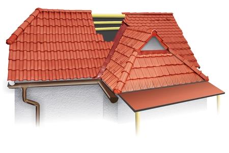House roofing technical details. 3d illustration, burn roof tiles. shelter Zdjęcie Seryjne