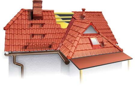 House roofing technical details. 3d illustration, burn roof tiles, shelter, accessories