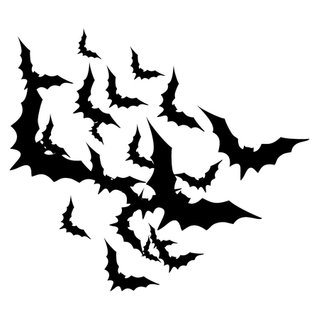 vector illutration, group of black bats on a white background