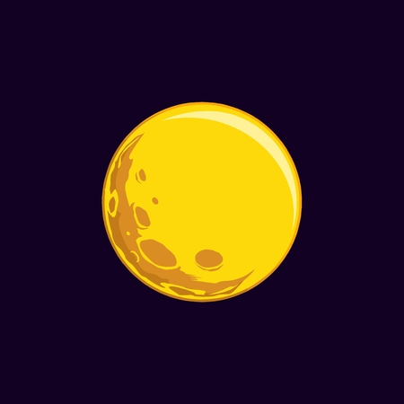 vector illustration, yellow moon on dark purple  blue background, visible craters on the moon
