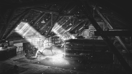 an illustration black and white of a fairy-tale attic, rays of light penetrating from the windows, flying dust