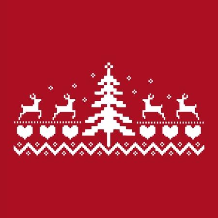 Een wit ornament die eland tonen die aan een Kerstboom vectorillustratie richten.