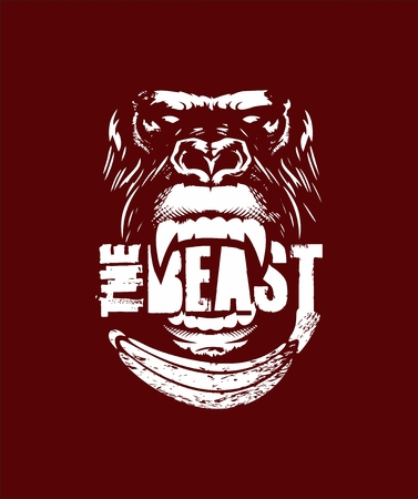 do not feed the beast, vector illustration, angry gorilla, suitable for work out a gym shirt Ilustração