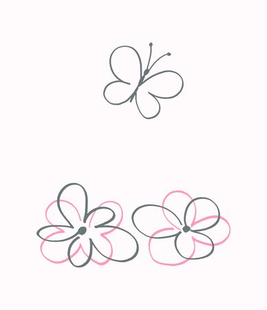The two flower and butterfly, vector abstract illustration.