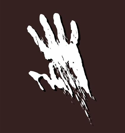 The silhouette of a bloodied hand, criminal case.