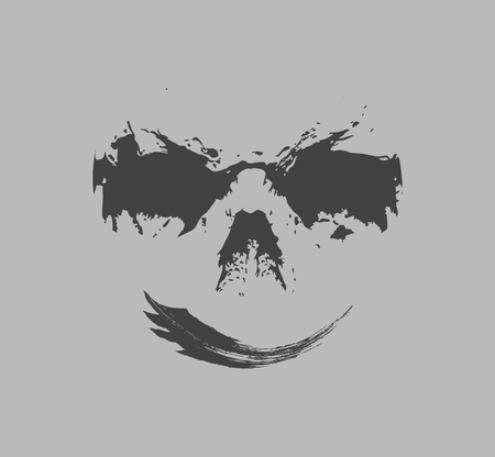 Smiling terrible face, vector illustration.