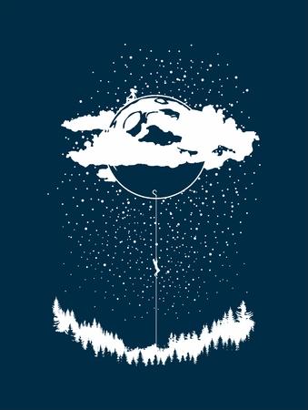 The vector illustration, man climbing a moon to a woman. Çizim