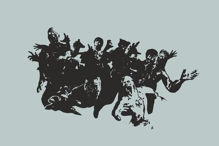 de zombie horde vectorillustratie Stock Illustratie