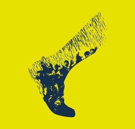 The silhouette of a human leg filled with a hungry zombie escaping in the rain chasing prey, vector illustration.
