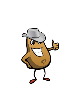 the vector potato with american smile and cowboy hat