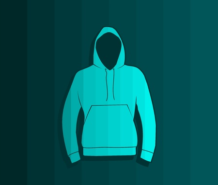 the hoodie vector template, turquoise color stripes tinting Vettoriali