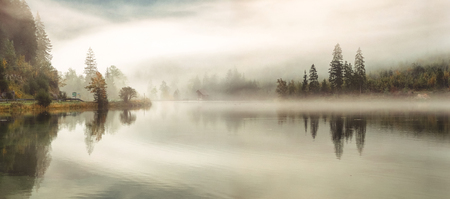autumn fog over the lake, autumn panorama