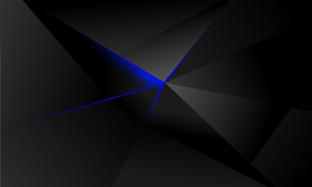 abstract polygon background, illuminating blue light, shades of gray and black 写真素材