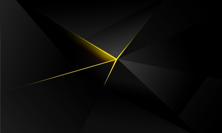 abstract polygon background, illuminating yellow  gold light, shades of gray and black