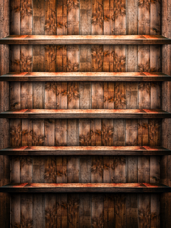 Empty wooden shelf, brown color, suitable as a background 写真素材