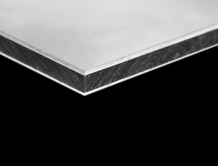 detail of the dibond board - aluminum, in the middle plastic