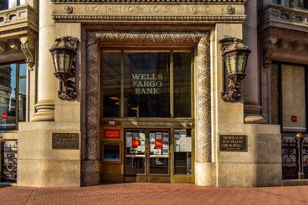 SAN FRANCISCO, CALIFORNIA, USA-November 1 2020 : Historical buildings of Wells Fargo Bank in Union Square, Financial District in Francisco California.