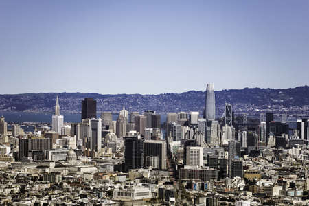 San Francisco California, USA. March 21, 2021: View of San Francisco city and San Francisco Bay from Twin Peaks which has a Great View of San Francisco and the Bay Area.
