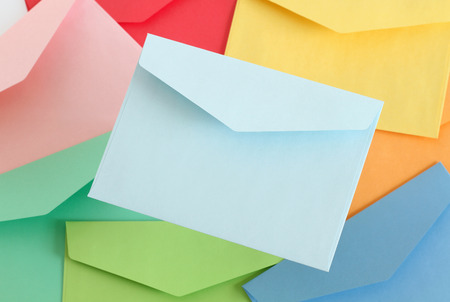 Light blue envelope on the colorful envelopes