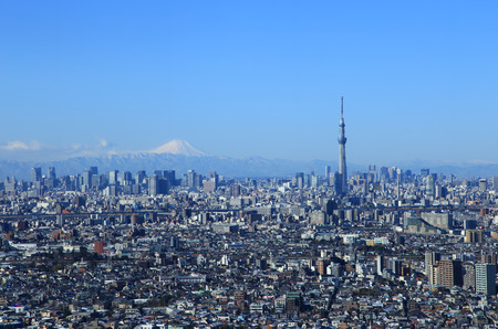 Tokyo skyline with Mount Fuji and Tokyo Skytree Stock Photo