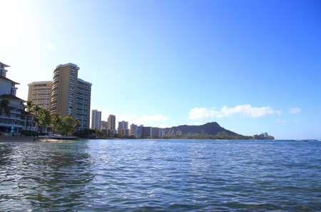 diamond head: Waikiki Beach with Diamond Head in Oahu, Hawaii Stock Photo