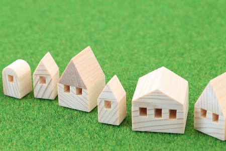 Miniature house on green background
