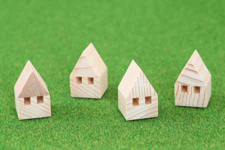 domicile: Miniature house on green background