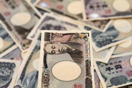 yen note: Japanese Yen Bills Currency of Japan Stock Photo