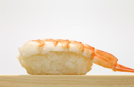 Closeup of Shrimp Nigiri Sushi Stock Photo