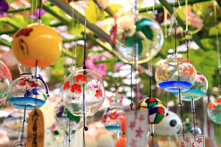 Colorful Japanese wind chimes, Summer feature of Japan
