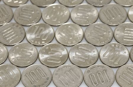 silver coins: Many silver coins, Japanese money Stock Photo