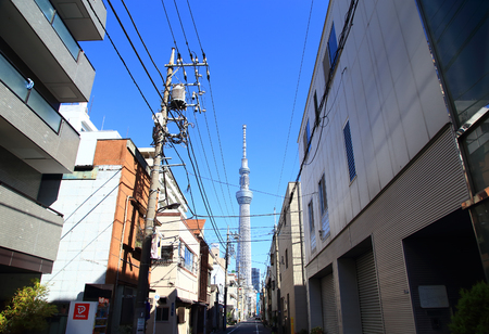 apartment tower old town: Tokyo residential street with Tokyo Skytree