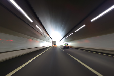 moving truck: Car traffic in the tunnel