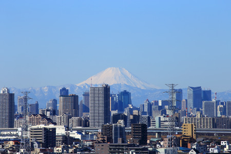 Tokyo cityscape with Mount Fuji
