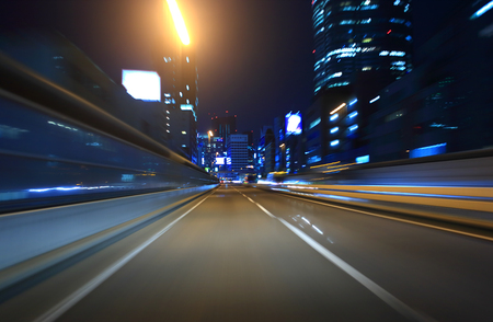 Car driving on Metropolitan Expressway in Tokyo Stock Photo