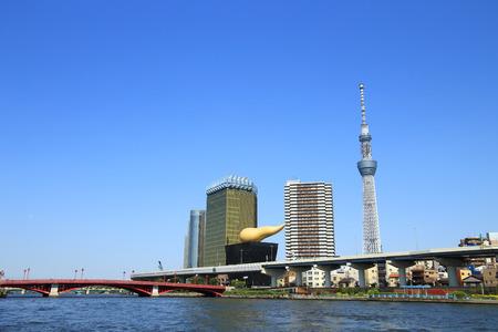 sumida: Tokyo skyline with Sumida river Stock Photo
