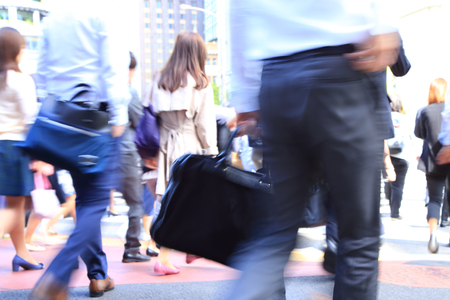 Business people walking, motion blur Stock Photo