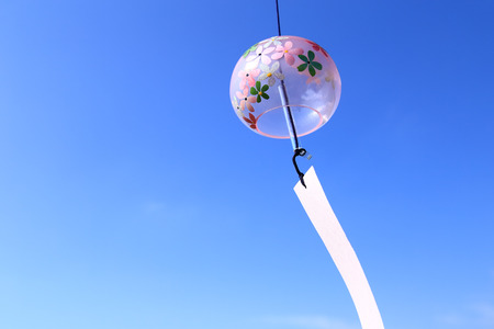 Japanese wind chime against blue sky Stock Photo - 90295740