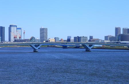 Toyosu Ohashi Bridge in Tokyo Stock Photo