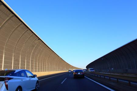 Traffic on highway with cars Фото со стока
